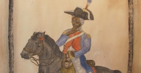 Hedjet (Dre Day), (A very portly) Andre, King of Upper Sainte Domingue Reviewing the Troops at Cap Frengland