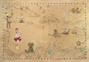 Map Of Carribean. 2012. Frohawk Two Feathers. Taylor De Cordoba, Los Angeles